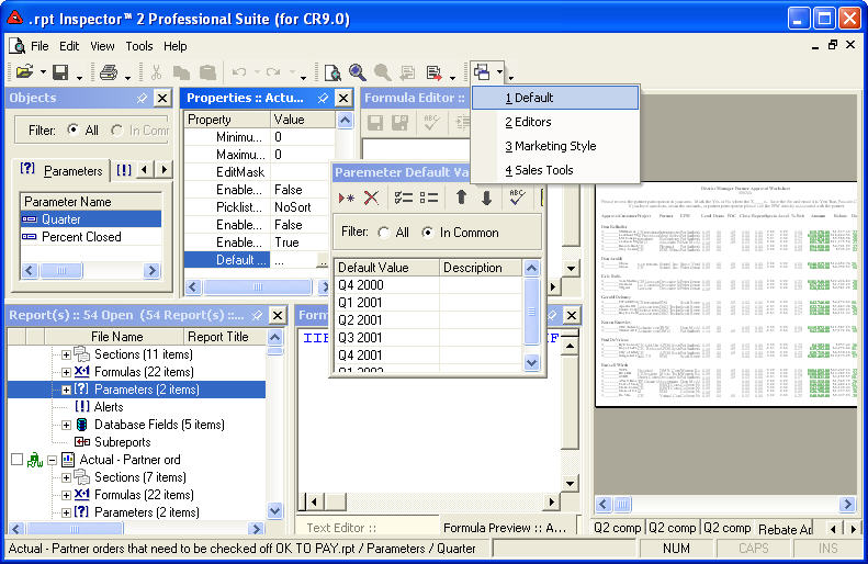 rpt Inspector for Crystal Reports - Make changes to multiple Crystal