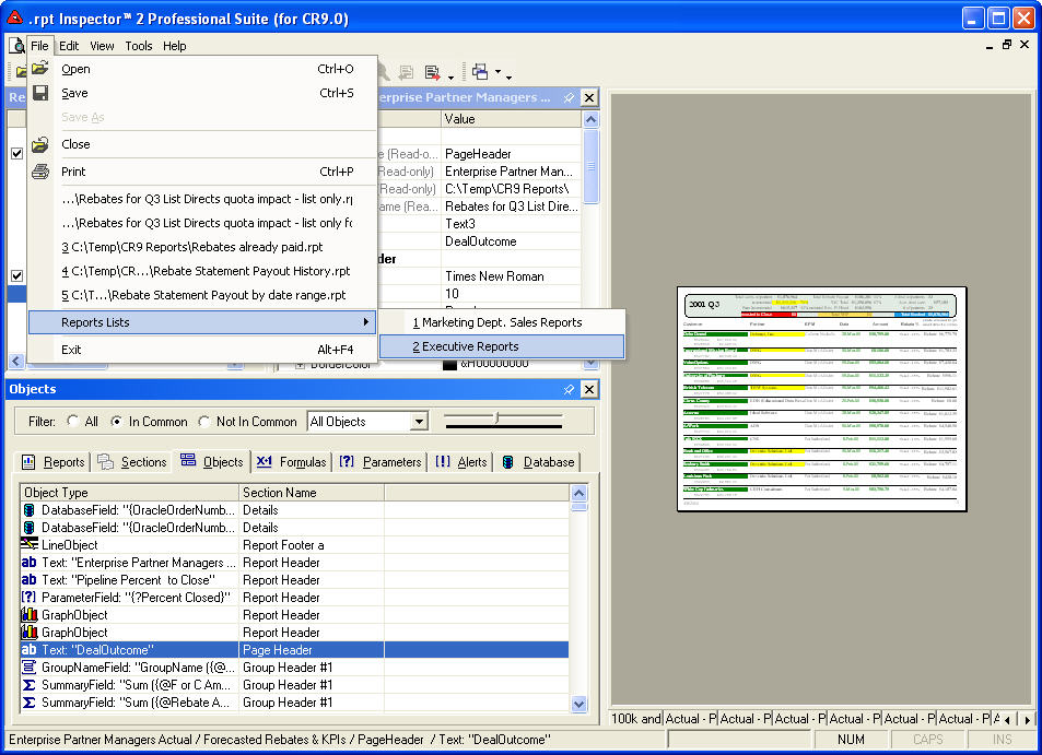 rpt Inspector for Crystal Reports - Make changes to multiple
