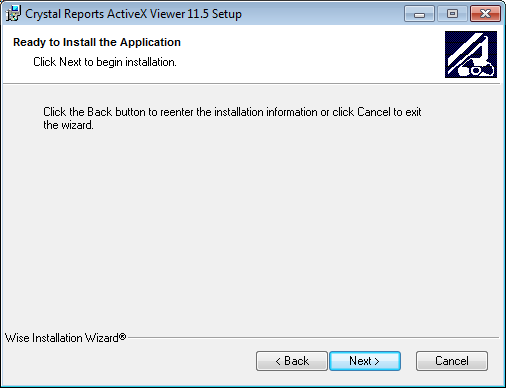The crystal reports activex report viewer fails to install when using